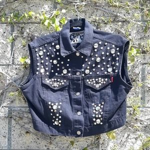 VTG Black Studded Sleeveless Denim Vest